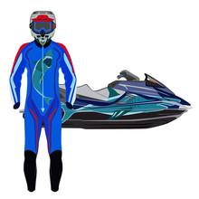 Jet Ski, Jet Skier Suit And Protective Gear Vector Illustration