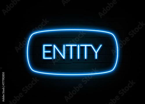 Foto Entität - bunte Leuchtreklame auf Brickwall
