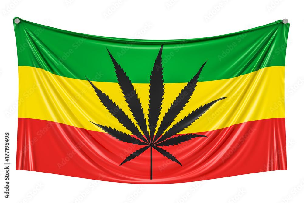 Fotografia Rasta Flaga Marihuana Liść Na Rastafarian Flaga