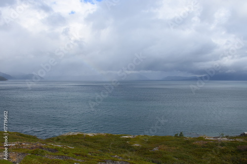 Obraz na plátně Norwegen, Norge, Alta, Altafjord, Fjord, Langfjorden, Langenesholmen, Insel, Bun