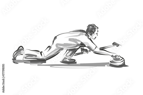 Photographie Vector line sketch curling player