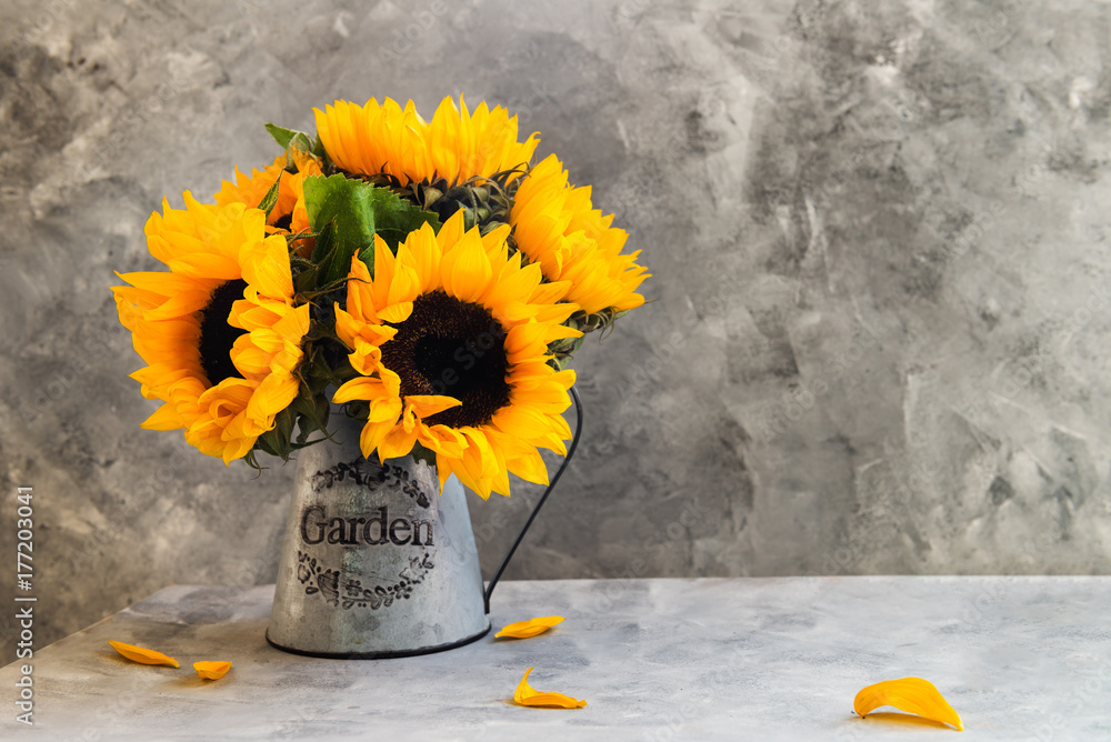Yellow Sunflower Bouquet in Garden Jar