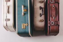 Overhead Of A Vintage Suitcases.