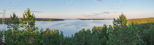 Fotografia, Obraz  Summer evening panorama landscape from the high shore of Ladoga lake in the sker