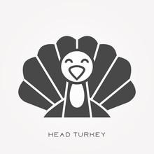 Silhouette Icon Head Turkey