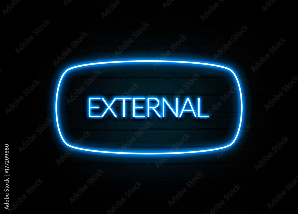 Fototapety, obrazy: External  - colorful Neon Sign on brickwall