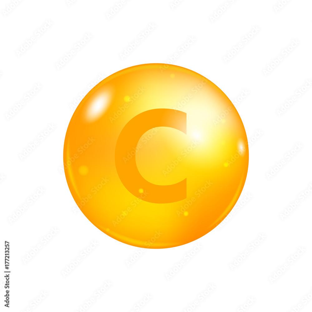 Fototapeta Vitamin C pill isolated on white background. icon vector