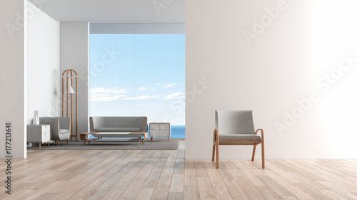 Modern Interior Living Room Wood Floor With Sofa Set Chair In Front
