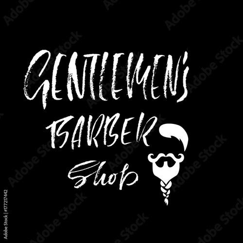 Zdjęcie XXL Gentlmen fryzjer sklep odręczny napis. Plakat typografii. Banner kaligrafii. Ilustracji wektorowych.
