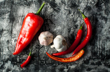 Red Chilli Pepper With Garlic