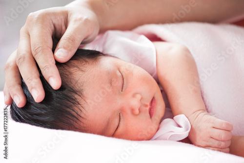 touching sleeping girl