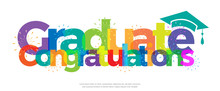 Congratulations Graduate Colorful With Fireworks On White Background