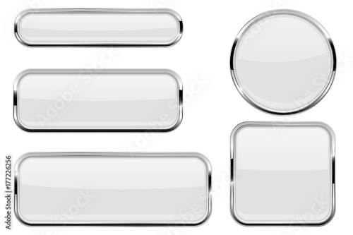 Fotomural White glass buttons with chrome frame