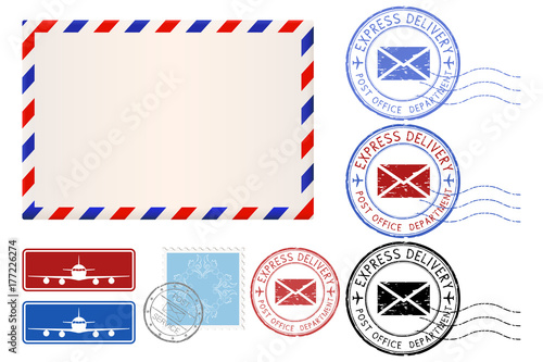 Photo Postal elements. Envelope, stamps, Express delivery postmarks