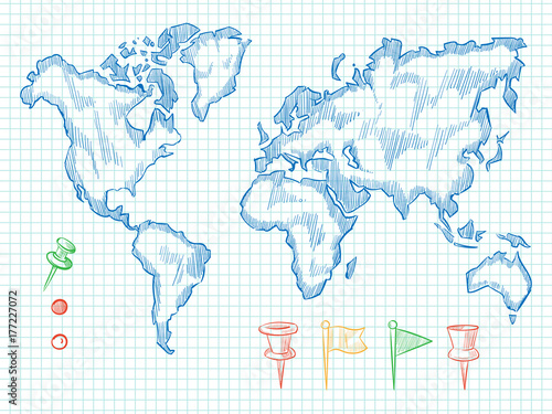 Hand drawn world map and colorful doodle pins – kaufen Sie diese ...