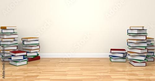 Fotografiet Libros apilados en suelo