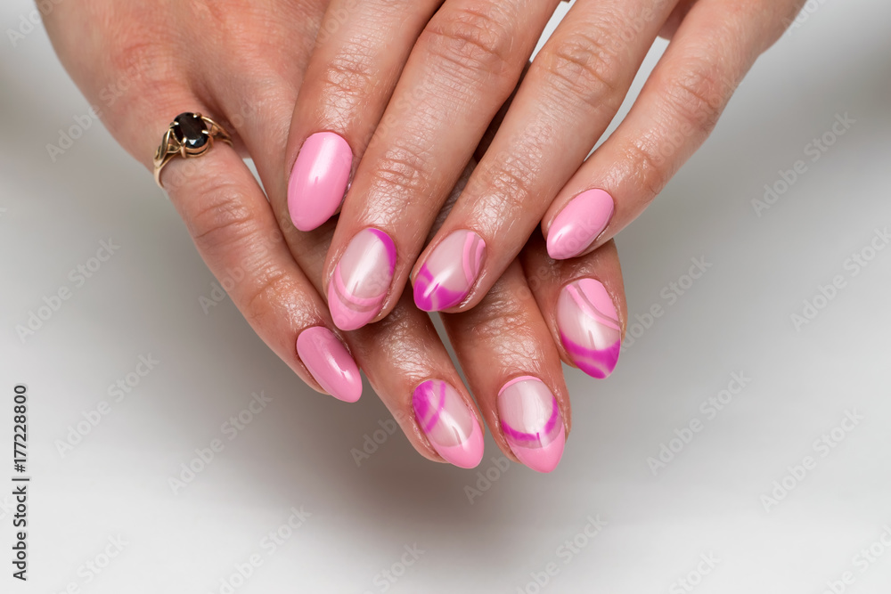 gentle pink French manicure with a violet painting on sharp long ...