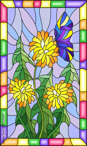 ilustracja-w-witrazu-stylu-kwiat-taraxacum-i-motyl-na-blekitnym-tle