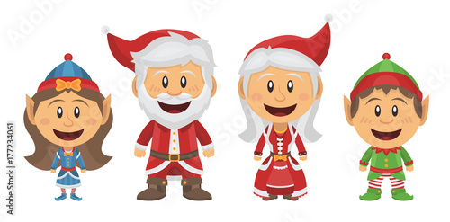 Pere Noel Mere Noel Et Lutins De Noel Buy This Stock Vector And