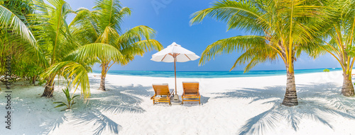 Keuken foto achterwand Strand Perfect beach view. Summer holiday and vacation design. Inspirational tropical beach, palm trees and white sand. Tranquil scenery, relaxing beach, tropical landscape design. Moody landscape