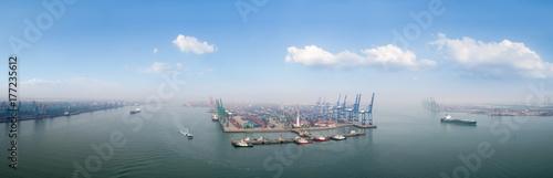 Plakat panorama portu Tianjin