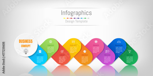 Fotografia  Infographic design elements for your business data with 9 options, parts, steps, timelines or processes