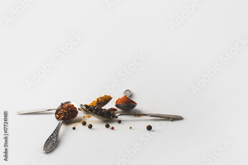 Photo spoons with various spices