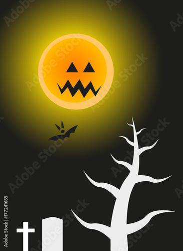 Fotografia, Obraz  scary moon at night scene
