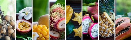 Egzotyczne owoce tropikalne. Pojęcie zdrowej żywności. Jedzenie organiczne. Kolaż owoców tropikalnych kolorów. Owoce męczennicy, longan, rambutan, liczi, owoc smoka, papaja, ananas, mango, karambola