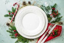 Elegant Christmas Table Setting Design (top View, Flat Lay)