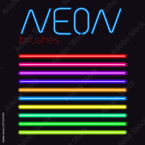 Photo  neon vector brushes set