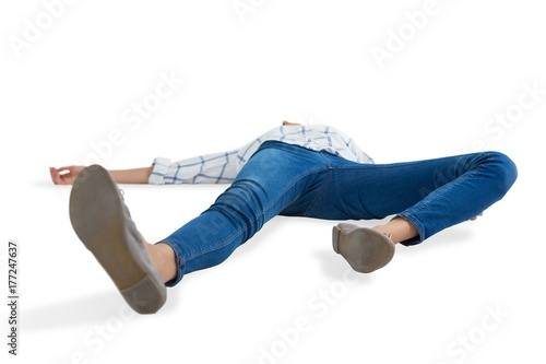 Obraz Woman lying on white background - fototapety do salonu
