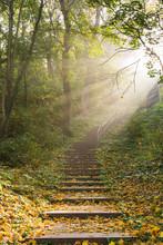 Treppe Mit Sonnenstrahlen Durc...