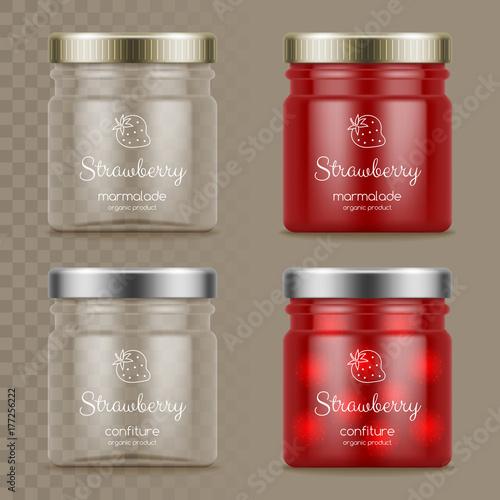 Stampa su Tela Glass jars with marmalade and confiture
