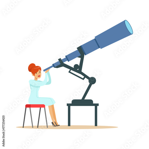 Leinwand Poster Woman astronomer looking through telescope