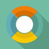 Circle graph icon vector flat