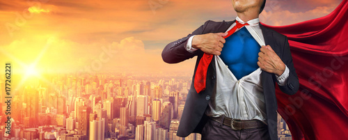 Cuadros en Lienzo  Business superhero. Mixed media