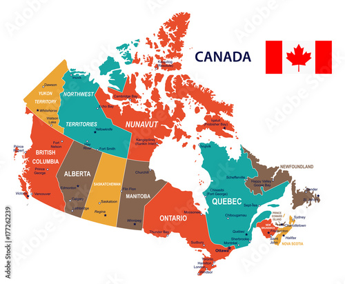 Canada - map and flag illustration Wallpaper Mural