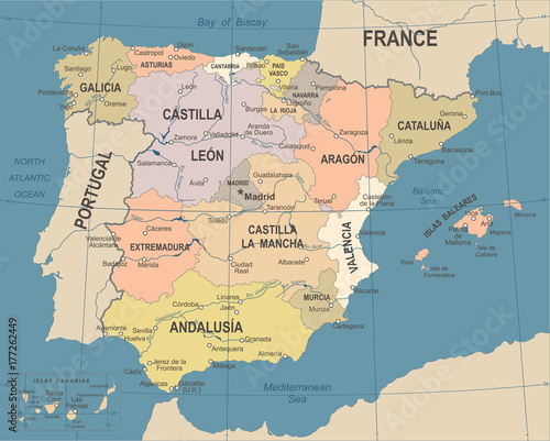 Fototapeta Spain Map - Vintage Vector Illustration