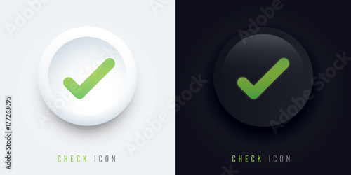 Fotografie, Obraz  check icon buttons of validation icons with shadow, check pictogram for signage