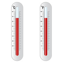 Two Thermometer. Celsius And Fahrenheit. Vector Eps 10
