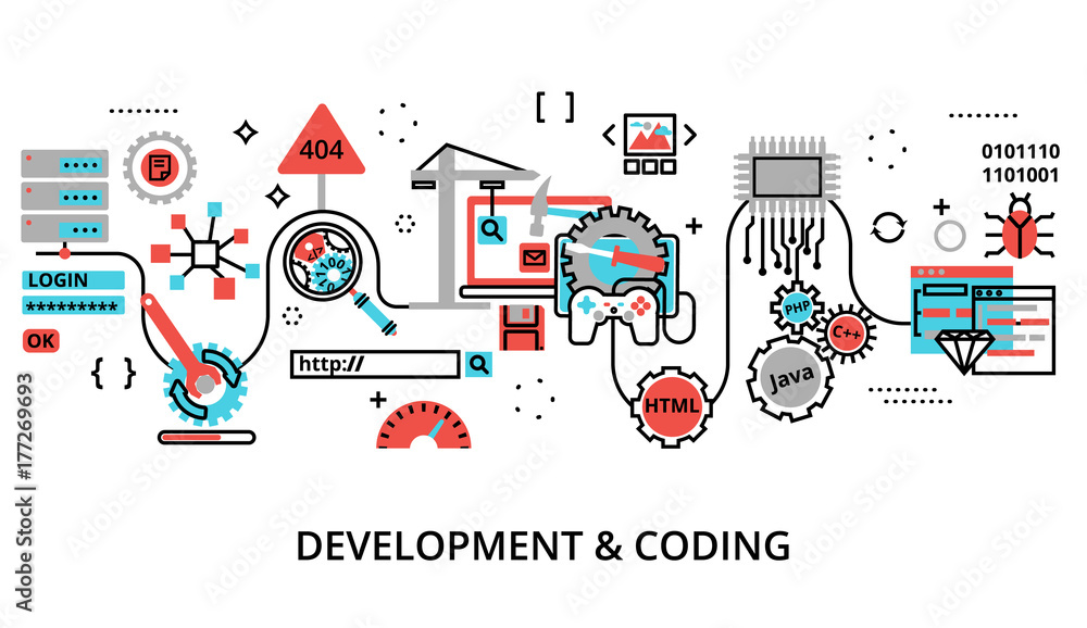 Fototapety, obrazy: Concept of development software and coding process