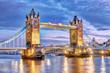 Leinwandbild Motiv London Tower Bridge bei Nacht