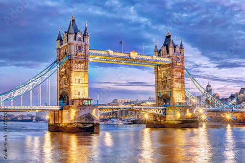 Poster Londres London Tower Bridge bei Nacht