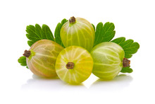 Ripe Green Gooseberries With L...