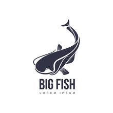 Stylized Big Fish, Whale Shark Icon Pictogram. Fishing Brand, Logo Design. Vector Flat Silhouette Illustration Isolated On A White Background.