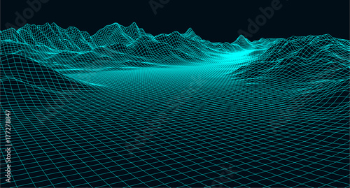Foto op Plexiglas Zwart Abstract digital landscape with particles dots and stars on horizon. Wireframe landscape background. Big Data. 3d futuristic vector illustration. 80s Retro Sci-Fi Background