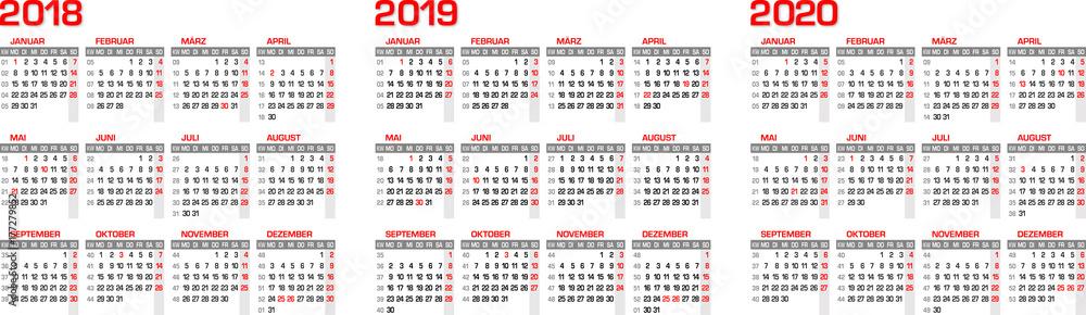 Kalender Kalendarium Für 2018 2019 2020 Mit Feiertagen