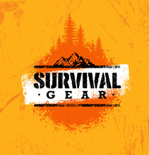 Survival Gear Extreme Outdoor Adventure Creative Design Element Concept On Rough Stained Background
