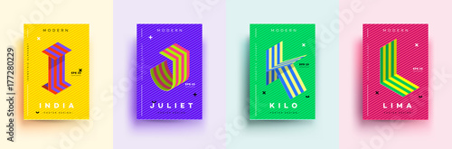 modern typographic colorful covers isometric letters i j k l